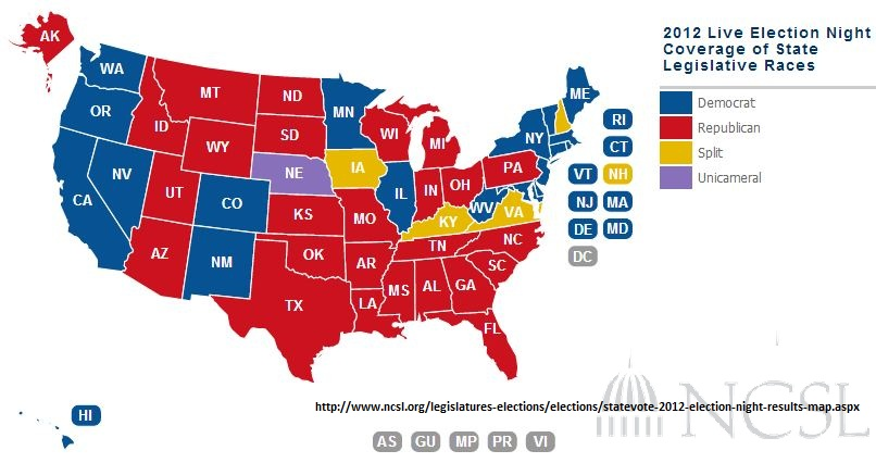 Http Www Ncsl Org Legislatures Elections Elections Statevote 2012 Election Night Results Map Aspx