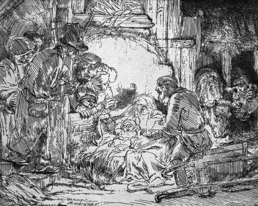 Nativity ~Rembrandt 1654 – found at http://fineartamerica.com/featured/nativity-rembrandt-.html
